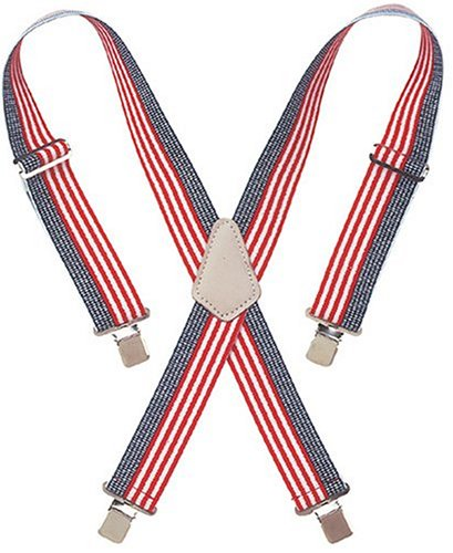 CLC Custom Leathercraft 110USA Heavy Duty Elastic Work Suspenders, USA Flag Print ()