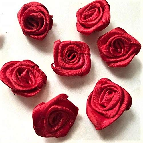 18mm Small Red Rose Flower Small Satin Ribbon Rose Flower Red Rose Flower Handmade Rose/50 Pieces 18 Red Mini Roses
