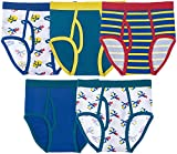 Trimfit Boys Cotton/Spandex Tagless Colorful Briefs 5-Pack, Transportation, XS (2-4)