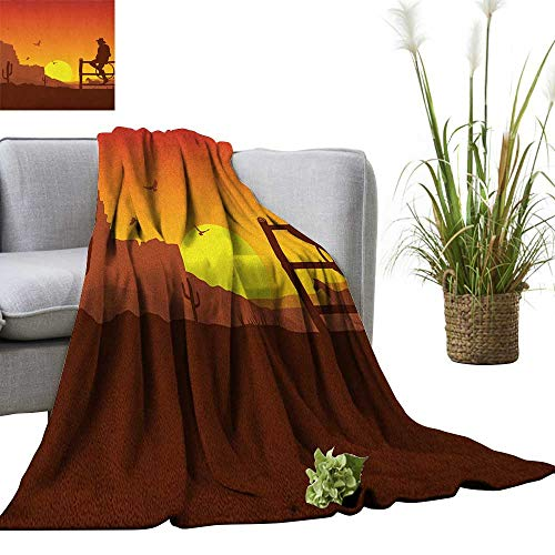 Western Throw Blanket Silhouette of Cowboy in Wild West Sunset Scene American Culture Image Artsy Print 50