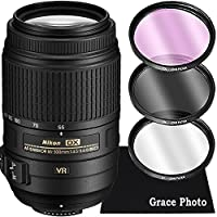 Nikon AF-S DX NIKKOR 55-300mm f/4.5-5.6G ED VR Lens Bundle for Nikon DSLR Cameras (White Box)