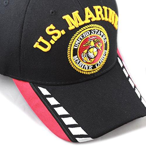Marine Logo Emblem Licensed Black Embroidered Adjustable Baseball Hat Cap U.S