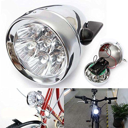 Cruiser Chrome Headlight - BlueSunshine Vintage Retro Bicycle Bike Front Light Lamp 7 LED Fixie Headlight with Bracket
