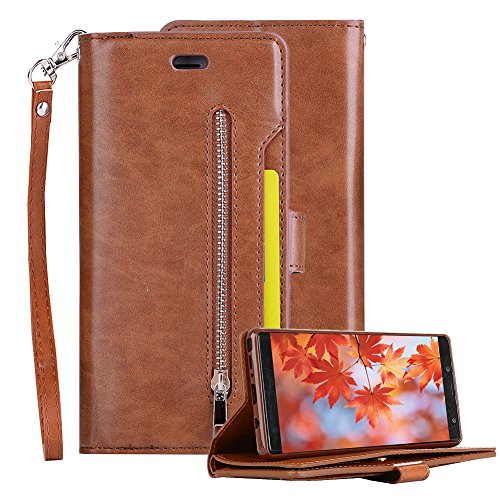 Price comparison product image PU Leather Zipper Wallet Case for Samsung Galaxy Note 8, Aearl Zipper Cash Purse Slot Pocket Folio Flip Stand Magnetic Cover Inner Soft TPU Case Card Holder Wrist Strap for Samsung Galaxy Note 8-Brown