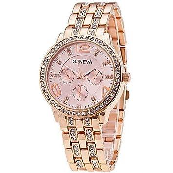 fenkoo Mujer Mode Reloj Quartz aleación banda reloj de pulsera plata/oro/rojo oro, dorado: Amazon.es: Deportes y aire libre