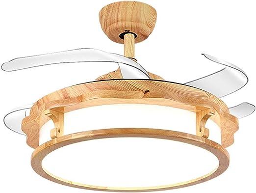 WPCBAA Ventilador de techo invisible de 42 pulgadas Luz de techo Araña de madera Ventiladores de