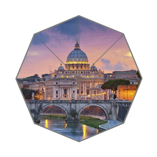 Architectural Landscape St Peter Cathedral and River Tiger Italy Foldable Umbrella by SunnyCloud