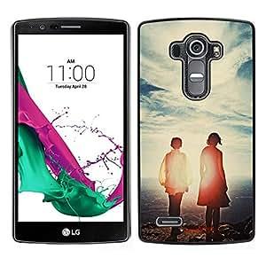 // PHONE CASE GIFT // Duro Estuche protector PC Cáscara Plástico Carcasa Funda Hard Protective Case for LG G4 / Sky Couple Love Sunset Cute Summer Warm /
