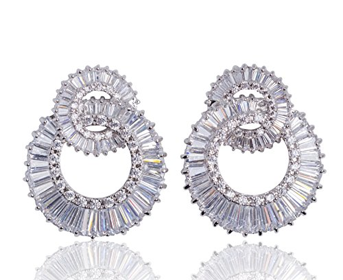 MISASHA Sparkling Cubic Zirconia Luxury Two Circles Cross Celebrity Designer Real White Gold Plated Wedding Christmas Gift Party Earrings For (Chanel Inspired Earrings)