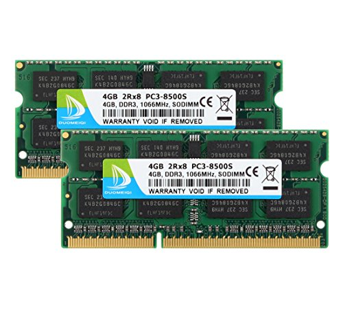 - DUOMEIQI 8GB Kit (2 X 4GB) 2RX8 PC3-8500 PC3-8500S DDR3 1066MHz SODIMM CL7 204 Pin 1.5v Non-ECC Unbuffered Notebook Memory Laptop RAM Modules Compatible with Intel AMD and Mac Computer