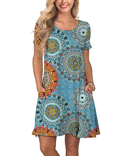 e822fe79 KORSIS Women's Summer Floral Dresses Short Sleeve Tunic T Shirt Swing  Dresses Flower Mix Blue XL