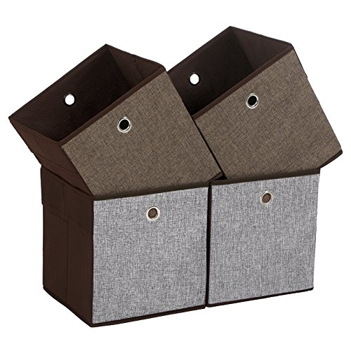 SONGMICS UROB26CG Set of 4 Linenette Cubes, Foldable Clothing Storage Boxes and Bins for Home Closet and Toys Organizer, Grey, Brown and Coffee Colors on Different Sides