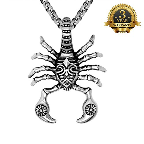 W-Q Scorpions Titanium Steel Pendant Punk Cool Personality Necklace For Men Halloween Jewelry(20
