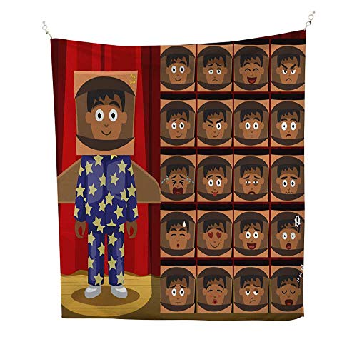 25 Home Decor Tapestries for Bedroom Children Pajama Boy Spaceman Costume Cartoon Emotion Faces Wall Tapestries for Bedroom 60W x 80L INCH -