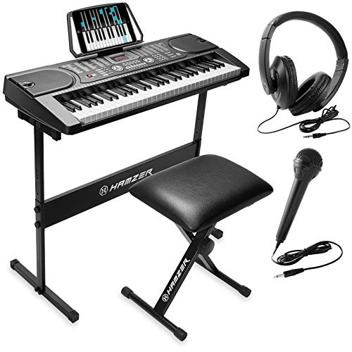 Hamzer 61-Key Portable Electronic Keyboard Piano with Stand, Stool, Headphones, Microphone & Sticker Sheet (Recording Microphone Piano)