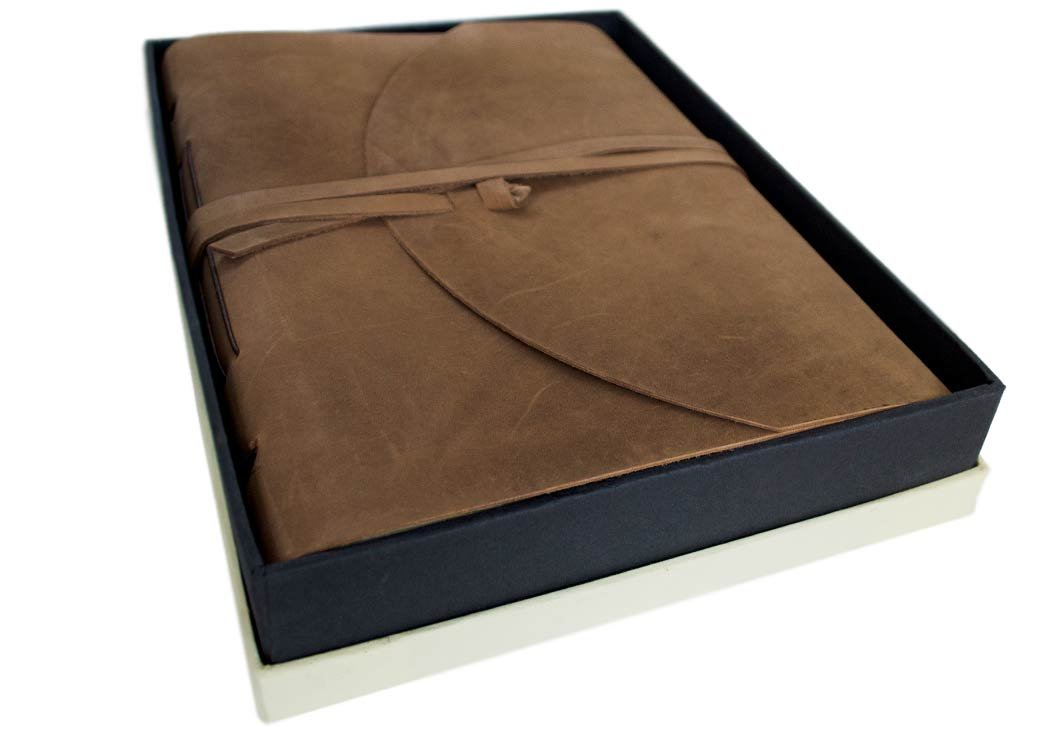 Enya Extra Large Rustic Brown Handmade Leather Bound Journal, Plain Pages (30cm x 22cm x 5cm)