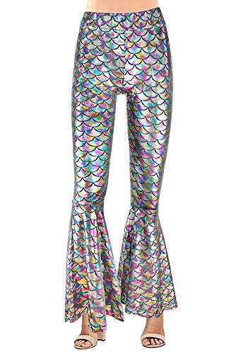 Halloween Costumes Women's Fish Scales Sexy Tight Pants Shiny Bell Bottom Leggings Multi-Color L