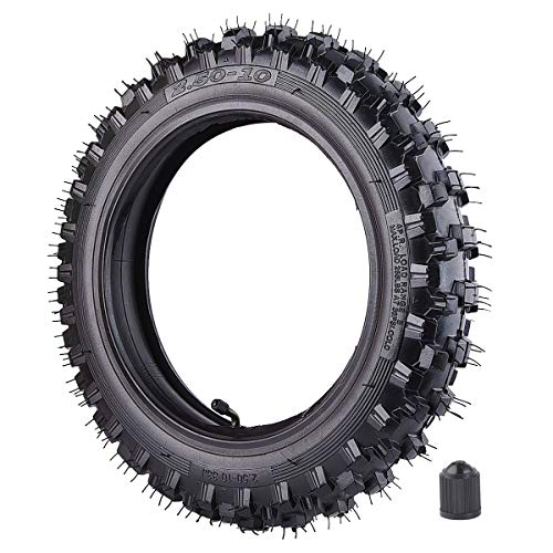 "2.50x10"" Knobby Tyre 2.5-10 Front or Rear Tire with TR87 Inner Tube for Off Road Motorcycle Motocross Mini Dirt Bike XR50 CRF50 PW50 SDG107 50SX Morini Razor SX500"