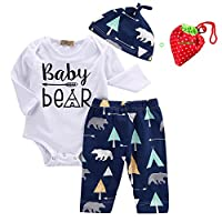 Unisex Toddler Infant Newborn Girl Boy Baby Bear Romper Pants 3pcs Outfits Se...