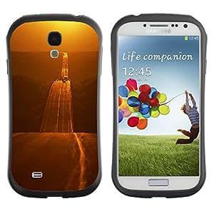 Fuerte Suave TPU GEL Caso Carcasa de Protección Funda para Samsung Galaxy S4 I9500 / Business Style Gold Road Freedom Open Highway