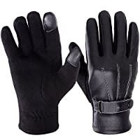 Vbiger Leather Gloves Winter Mittens Touch Screen Gloves