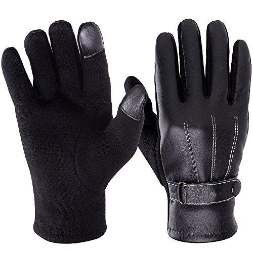 Vbiger Winter Gloves Touch Screen Leather Gloves Warm Liner Gloves for Men Women by VBIGER