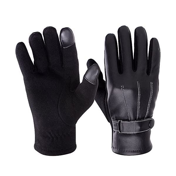 Vbiger Mens Winter Gloves PU Leather Touch Screen Gloves Warm Gloves Mittens