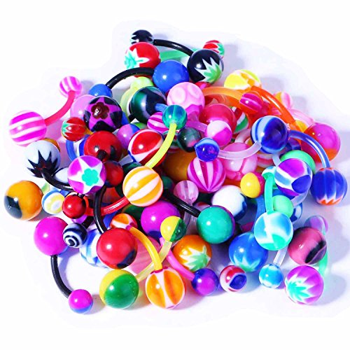 Lot of 50 Assorted Bioflex Flexible Belly Button Rings 50 Pack - Ball Belly Ring