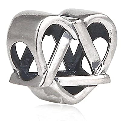Reflections Adoption Symbol Charm Antique 925 Sterling Silver Heart Bead for European Bracelet Jewelry