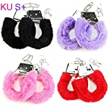 + 1 Pair Stylish Soft Metal Adult Hen Night Party Game Sexy Gift Furry Fuzzy Handcuffs Black