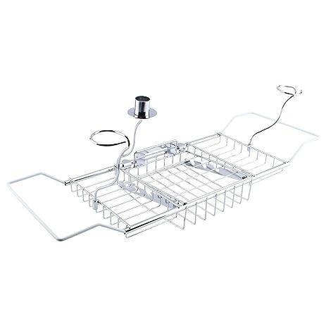 Amazon.com: Adjustable Bathtub Rack Shelf,Extending Bamboo Bath Tub ...