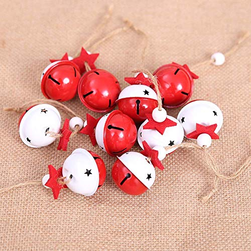 HOUTBY 8pcs Christmas Jingle Bell Ornament DIY Crafts Xma Tree Hanging Bells Christmas Tree Holiday Decoration, Red White
