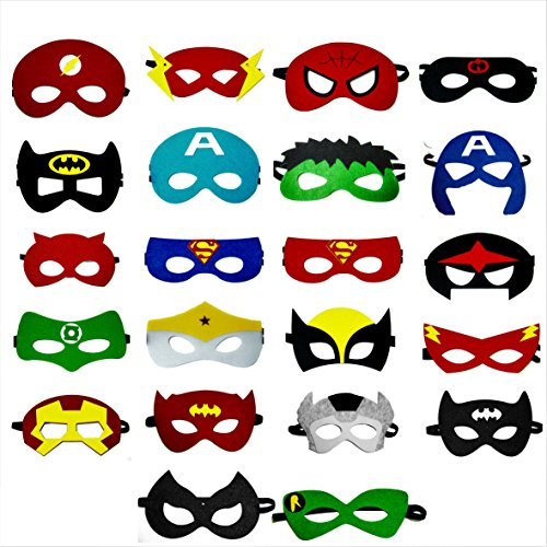 Superhero felt party masks 22 pieces party cosplay masks for boys and girls for $<!--$14.97-->