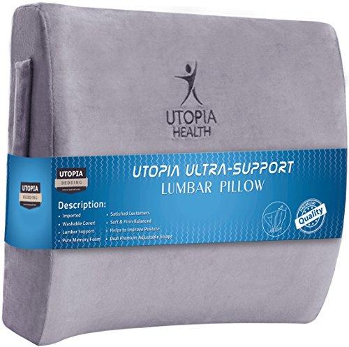 Super Comfortable and Supportive - Memory Foam Back Pillow, Lumbar Pillow - Utopia Bedding