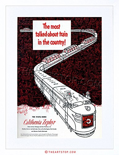 The Art Stop AD California Zephyr 1950 Train Western Pacific Framed Print F97X2129 ()