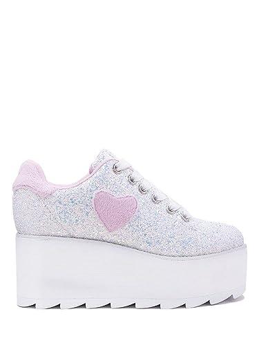 5a3a3f6bdc92 YRU Lala Heart White Glitter Platform Rave Sneakers (6)