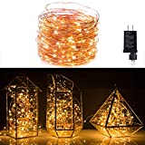 Fairy String Lights 40Ft 120 LED Waterproof Firefly Lights Copper Wire Starry Lights Perfect for Christmas Party DIY Wedding Bedroom Indoor Party Decorations, Warm White