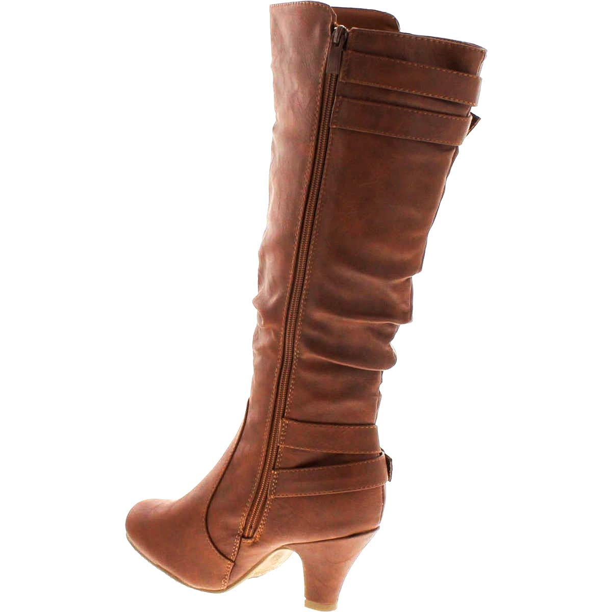 Top Moda Womens Bag-55 Knee High Buckle Slouched Kitten Heel Leatherette Fashion Boots 8.5, Tan