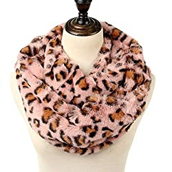 Women's leapord print infinity scarf Warm lightweight Acrylic Cheetah Loop Circle Scarves for Ladies and Girls with gift bag