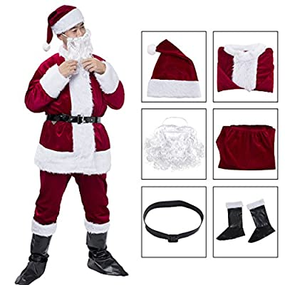 MeiLiMiYu Men's Christmas Santa Claus Adult Complete Set Traditional Christmas Santa Suit