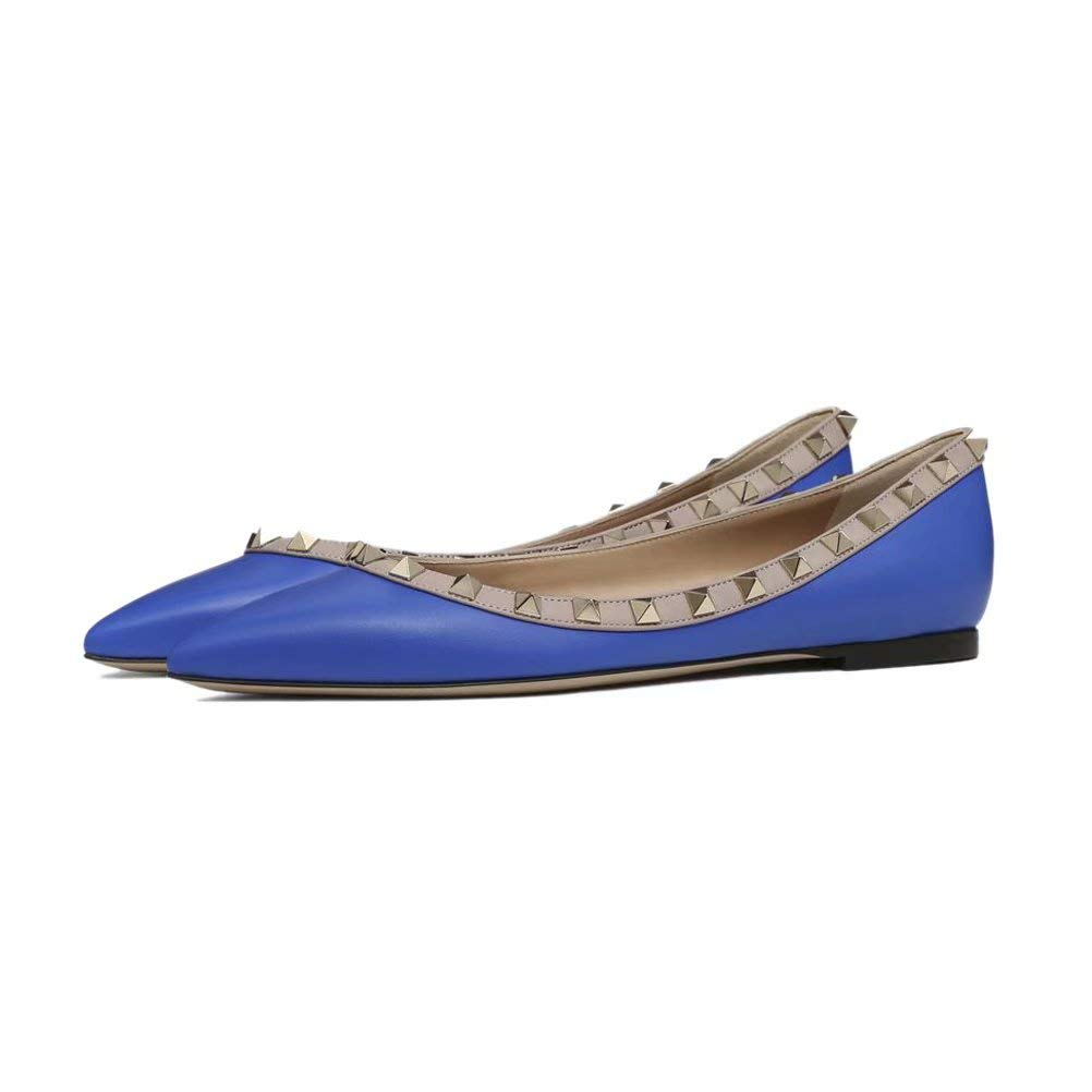 Caitlin B077NG3GH9 Pan 17984 Femmes Ballerines Talons Plat Casual Bout Pointu Plats Studded Cloutés Slip on Mocassins Plats Chaussures 35-45 Bleu Mat 05ec51d - fast-weightloss-diet.space
