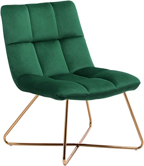 Duhome Velvet Accent Chair Retro Leisure Lounge Chair Mid Century Modern Chair Vanity Chair for Living Room Bedroom with Gold Metal Legs Dark Green 1 PCS