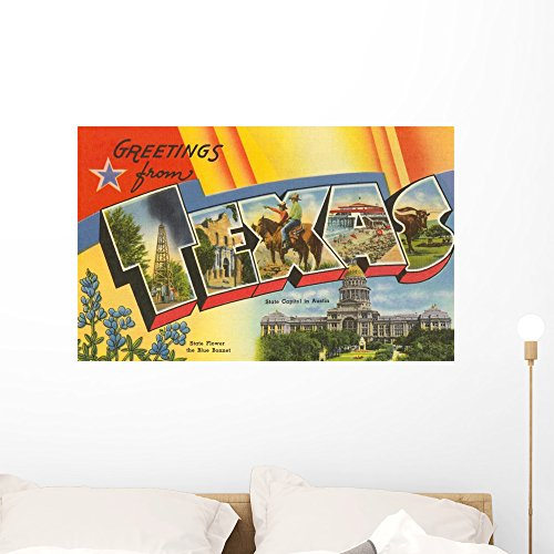 Wallmonkeys Greetings from Texas Wall Decal Peel and Stick Graphic WM332850 (36 in W x 23 in -