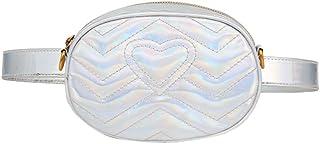 BESTOYARD Borsa a tracolla in pelle PU moda elegante forma a forma di amore Ricamo Borsa a tracolla in pelle pacchetto Fanny (Argento)