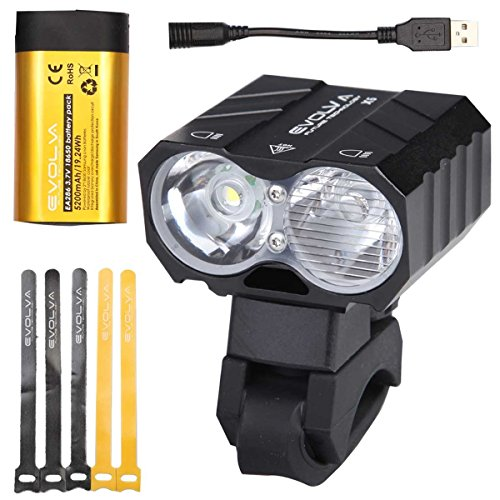Evolva Future Technology Bike Light USB 1800LM Cree with 7 Hours Runtime Original Samsung Battery Pack - Front Rechargeable Headlight with High Dipped Beam Functions and Integrated 360 Degree Rotatable Mount