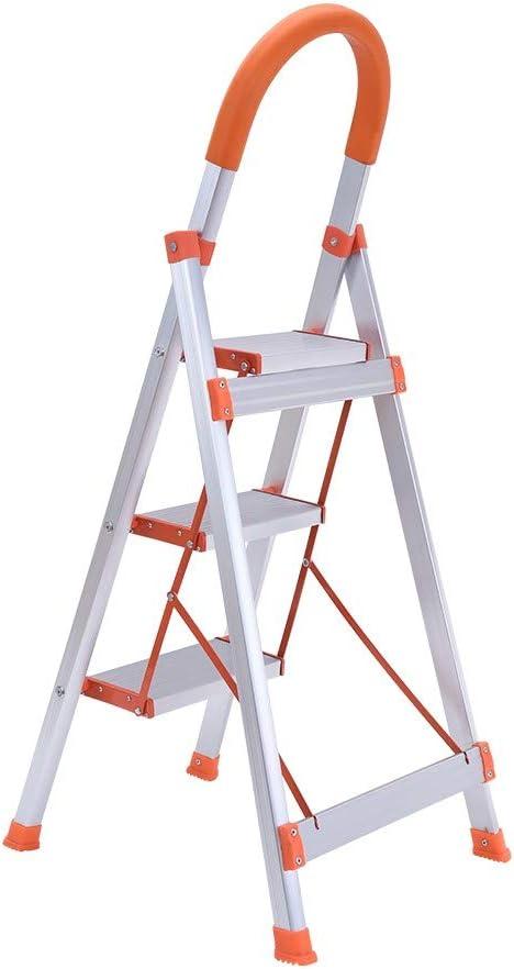 White Haluoo 3 Step Folding Step Ladder Lightweight Aluminum Foldable Stepladder 3-Foot Step Stool Ladder with Anti-Slip Handgrip and Wide Pedal Platform Stool