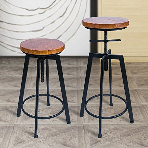 ANXITIEGONGYI Best Bar Stools/Chairs for Bistro Pub Breakfast Kitchen Coffee house, Swivel Metal Round Wood Seat Bar/Counter Height Adjustable, Set of 2, Black (Bar Stools Black Breakfast)