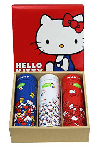 Hello Kitty Yamama Masudaen Kodawari Yuzu green Tea, Premium Sencha, Honey Ginger Green tea 3-pc Tin Can Gift Set