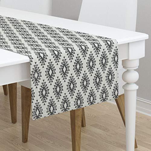 - Table Runner - Boho Navajo Modern Tribal Geometric Dark Gray Dark Gray Grey Cream Aztec Navajo by Bohemiangypsyjane - Cotton Sateen Table Runner 16 x 108