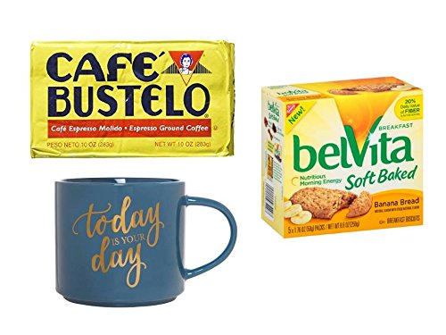 CAFE BUSTELO Expresso Coffee Mug Valentine Gift Set | Perfect for Men / Women with BREAKFAST BISCUITS Inc.